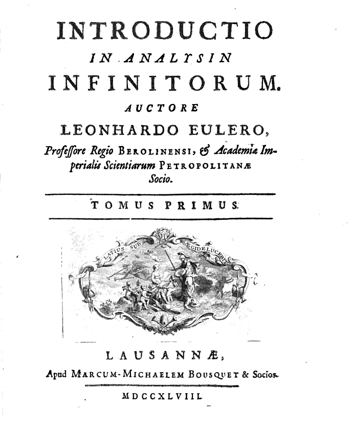 Tác phẩmIntroductio in analysin infinitorum (1748)-Euler